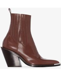 Paco Rabanne 100 Pointed Toe Leather Ankle Boots - Brown