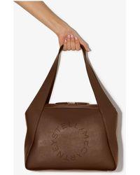 Stella McCartney Logo Faux Leather Tote Bag - Brown