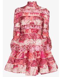 Zimmermann Ikat Print Mini Dress - Pink