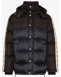 Gucci GG Stripe Puffer Coat - Black