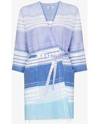 lemlem Eshal Striped Cotton Robe - Blue