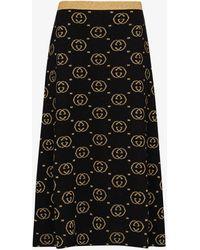 Gucci Gg Lame Skirt - Black