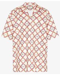 Gucci Neutrals Oversized Paper Effect Bowling Print Shirt - Pink