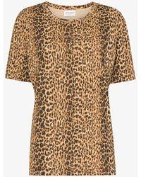 Saint Laurent Leopard Print T-shirt - Brown