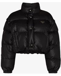 Prada Cropped Puffer Jacket - Black