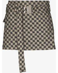 MISBHV Monogram Belted Mini Skirt - Gray