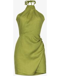 Reformation Dory Halterneck Linen Dress - Green