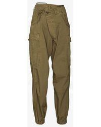 R13 Wrap-fastening Cargo Trousers - Green