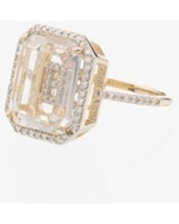 Mateo 18kt Yellow Gold Diamond-frame Initial Ring - Metallic
