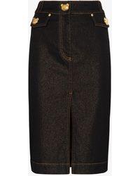 Moschino Bear Button Fitted Denim Skirt - Black