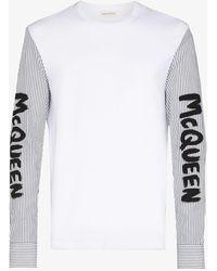 Alexander McQueen Graffiti Logo Contrast Sleeve T-shirt - White