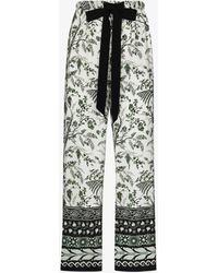 Erdem Horace Wild Fern Printed Silk Trousers - White
