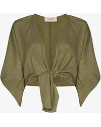 Adriana Degreas Cropped Tie-front Blouse - Green
