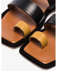 Rejina Pyo Larissa Two Tone Leather Sandals - Black