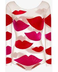 Alexia Hentsch Lips Applique Round Neck Bodysuit - Red