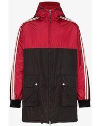 Gucci Logo Stripe Hooded Jacket - Red