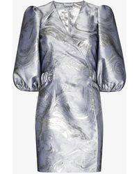 Ganni Jacquard Puff-sleeve Wrap Dress - Metallic