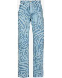 Aries Zebra Print Straight Leg Jeans - Blue