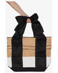 Rosie Assoulin And Brown Large Canvas Basket Tote Bag - Black