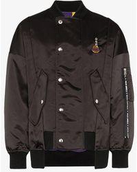 Moncler Genius Black X Palm Angels Spray-paint Logo Bomber Jacket