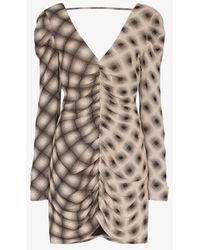 Eckhaus Latta Printed Crossover Mini Dress - Brown