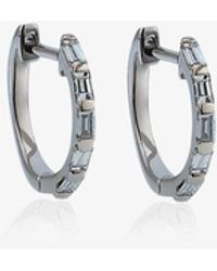 SHAY White Gold Mini Baguette Diamond Earrings - Metallic