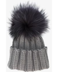 Inverni - Ribbed Cashmere Hat With Fur Pompom - Lyst