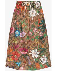 Gucci GG Floral Print Midi Skirt - Brown