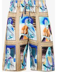 Edward Crutchley X Browns 50 Saint Print Silk Shorts - Blue