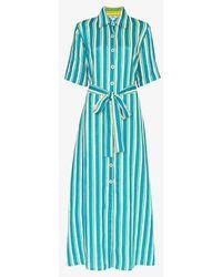 Evi Grintela Sunflower Striped Linen Shirt Dress - Blue