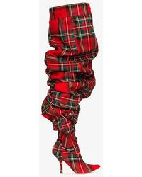 Y. Project Check 110 Thigh-high Wool Boots - Red
