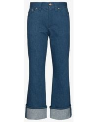 Chloé Turn-up Kick Flare Cropped Jeans - Blue