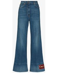 Gucci Flared Logo Patch Jeans - Blue