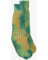 The Elder Statesman Yosemite Tie-dye Cashmere Socks - Green