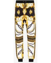 Versace Baroque-print Cotton Track Trousers - White
