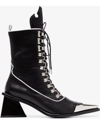 Marques'Almeida - Black 65 Metal Top Cap Lace-up Leather Boots - Lyst