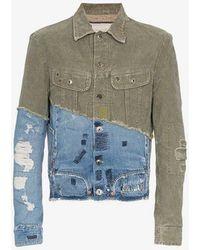 Greg Lauren - Denim Panel Distressed Cotton Jacket - Lyst