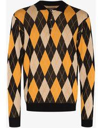 Beams Plus Argyle Knit Polo Shirt - Orange
