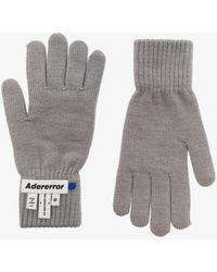 ADER error Gray Logo Patch Wool Gloves
