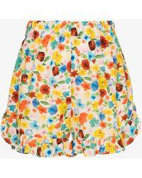 Ganni Software Floral Pyjama Shorts - White