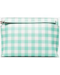 Loewe - Pink And Green T Gingham Pouch - Lyst