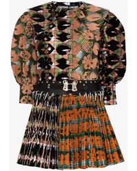 Chopova Lowena Golly Pleated Mini Dress - Orange