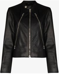 MM6 by Maison Martin Margiela Zipped Leather Jacket - Black