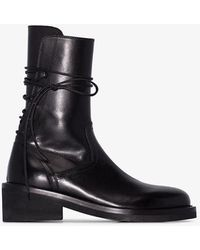 Ann Demeulemeester Rear Lace-up Leather Boots - Black