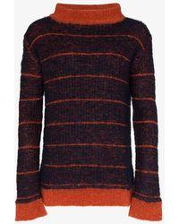 Eckhaus Latta Striped Mock-neck Sweater - Blue