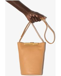 Khaite Neutral Etta Leather Bucket Bag - Orange