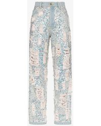 Ashish Sequin Embellished Ripped Boyfriend Jeans - Blue