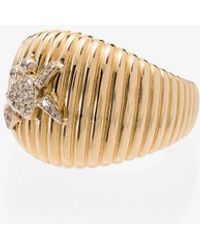 Yvonne Léon 18k Yellow Gold Diamond Crab Ridge Ring - Metallic