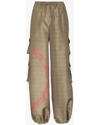 Daily Paper Kensine Checked Cargo Trousers - Natural