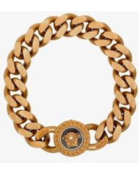 Versace Gold Tone Medusa Chain Bracelet - Metallic
